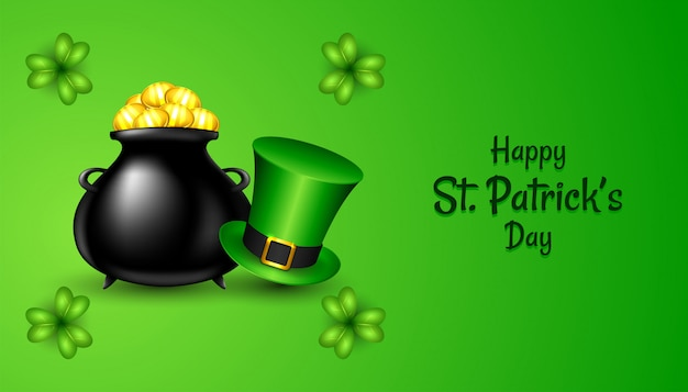 Glücklicher st. patrick's day mit realistischem grünem hut und kleeblattklee, schwarzer topf mit goldmünzen auf grün