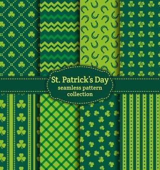 Glücklicher st. patrick's day! satz urlaubshintergründe. sammlung nahtloser muster in traditionellen farben saint patrick's day nahtloses muster.