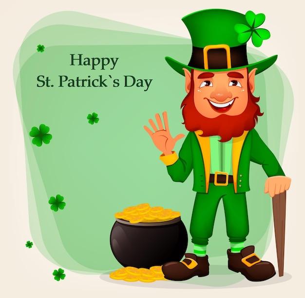 Glücklicher st. patrick's day. zeichentrickfigur mit grünem hut