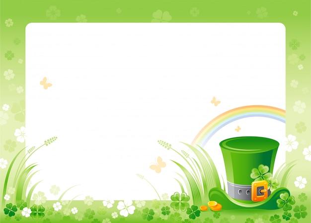 Glücklicher st. patrick's tag mit grünem kleeblattkleerahmen, regenbogen und laprechaunhut.