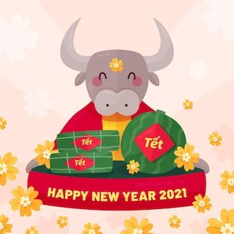 Glücklicher stier glückliches vietnamesisches neues jahr 2021