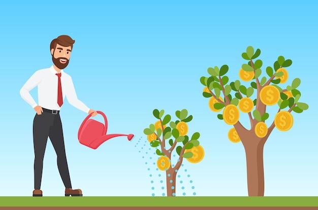 Glücklicher stilvoller geschäftsmann, der einen geldbaumkarikatur wässert