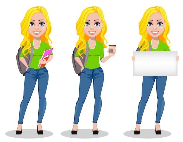 Glücklicher student mit rucksack