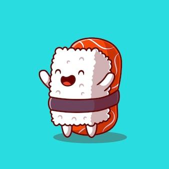Glücklicher sushi-lachs. flacher cartoon-stil