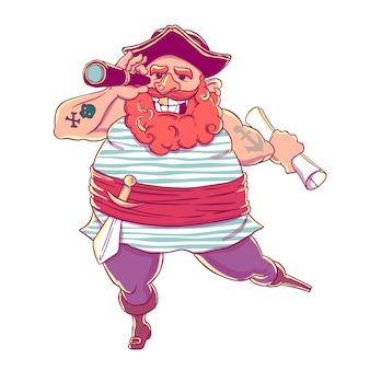 Glücklicher tätowierter pirat mit einer prothese, waffen, einer karte und einem teleskop.
