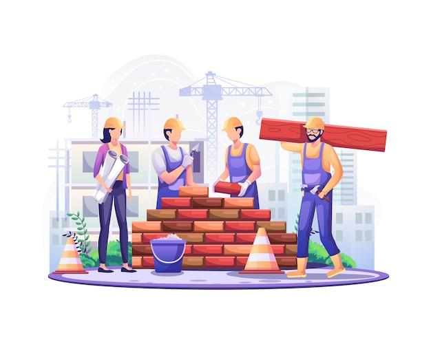 Glücklicher tag der arbeit bauarbeiter arbeiten am bau am tag der arbeit am 1. mai illustration