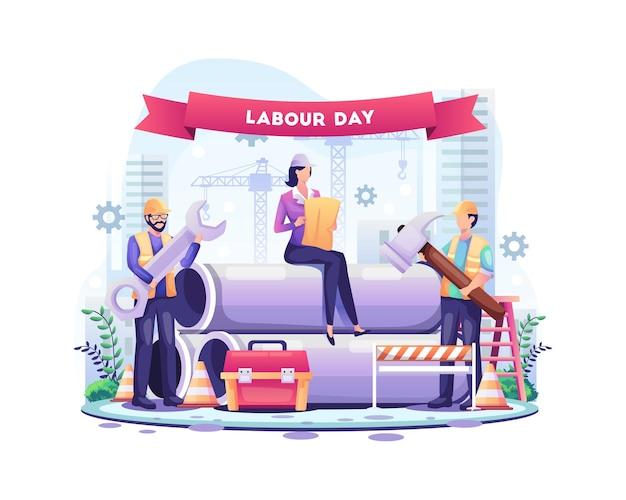 Glücklicher tag der arbeit bauarbeiter arbeiten am tag der arbeit am 1. mai illustration