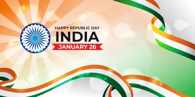 Glücklicher tag der indischen republik mit indischer dreifarbiger flagge