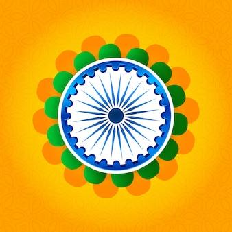 Glücklicher tag der republik von indien-hintergrund mit ashoka auf blume