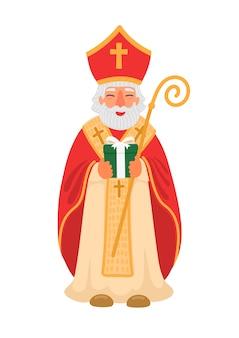 Glücklicher tag des heiligen nikolaus. st.nicolas hält geschenk. winterferien.