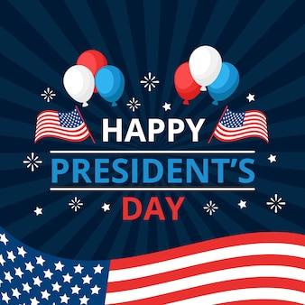 Glücklicher tag des präsidenten mit ballonen und flaggen