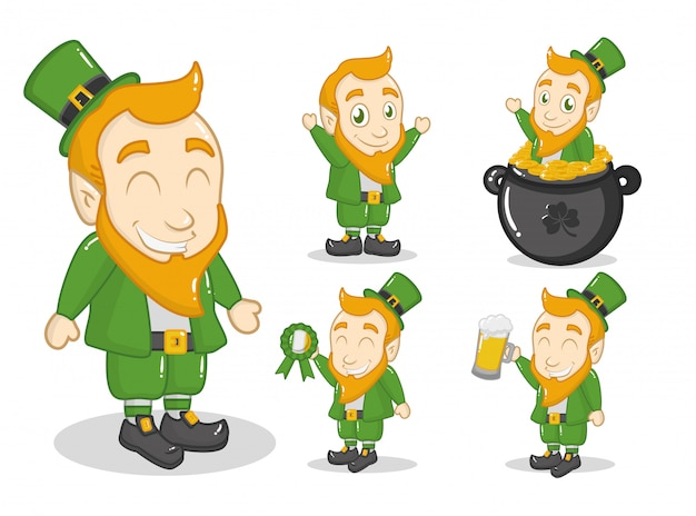 Glücklicher tag st. patricks, grüner kobold im großen kessel