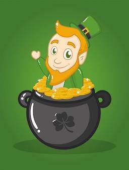 Glücklicher tag st. patricks, irischer kobold in einem großen kessel