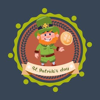 Glücklicher tag st. patricks mit kobold im grünen anzug und im hut halten goldene münze