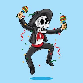 Glücklicher tanz des mexikanischen skeletts