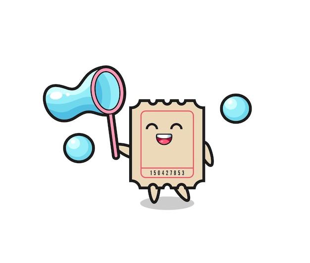 Glücklicher ticket-cartoon, der seifenblase spielt, niedliches design für t-shirt, aufkleber, logo-element