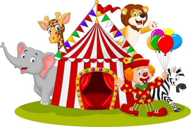 Glücklicher tierzirkus und clown der karikatur