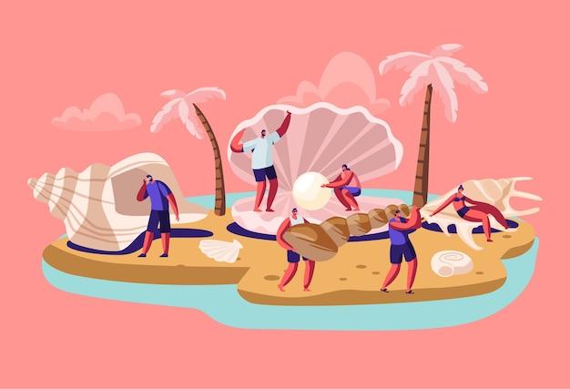 Glücklicher touristenmann und -frau stehen an der riesigen muschel mit der schönen perle am tropischen insel-strand mit palmen.