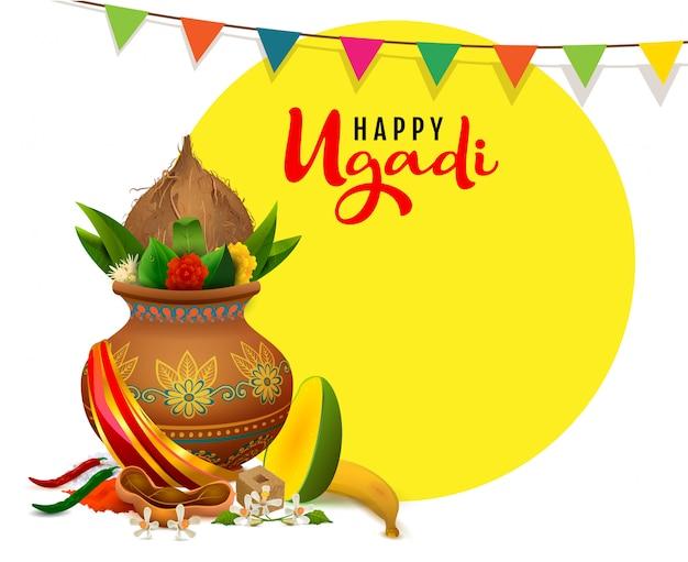 Glücklicher ugadi grußkartentext. traditionelles lebensmittel des indischen feiertags im topf