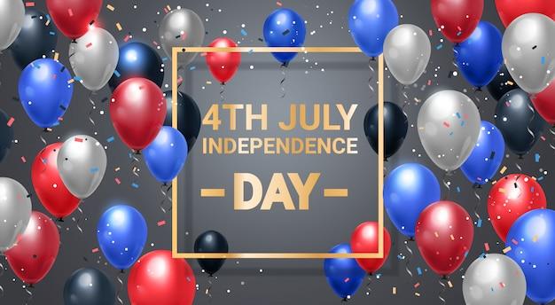 Glücklicher unabhängigkeitstag 4. juli bunte luftballons
