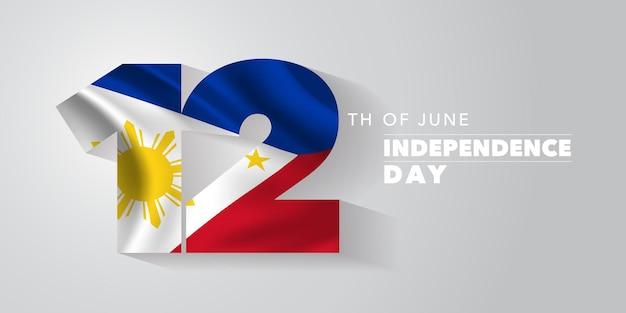 Glücklicher unabhängigkeitstag der philippinen. philippinischer nationalfeiertag 12. juni mit elementen der flagge