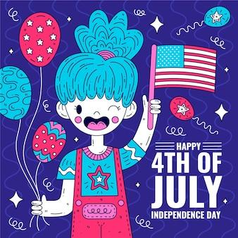 Glücklicher unabhängigkeitstag mit frau und flagge