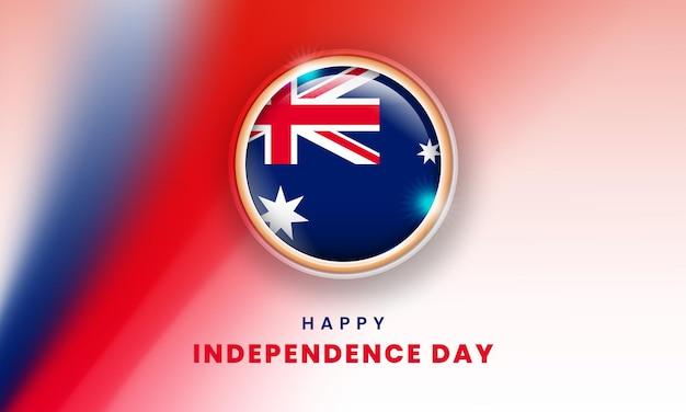 Glücklicher unabhängigkeitstag von australien-banner mit australischem 3d-flaggenkreis