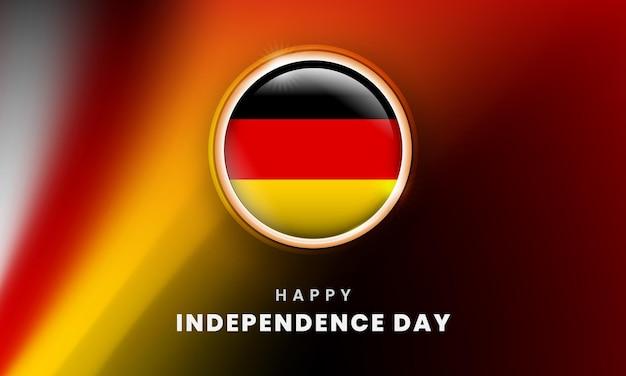 Glücklicher unabhängigkeitstag von deutschland-banner mit deutschem 3d-flaggenkreis