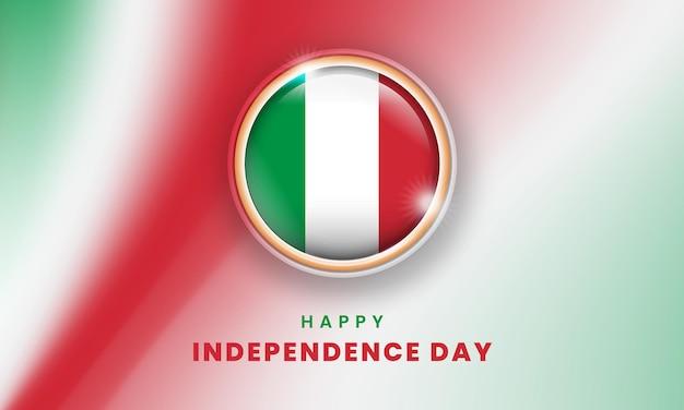 Glücklicher unabhängigkeitstag von italien-banner mit italienischem 3d-flaggenkreis