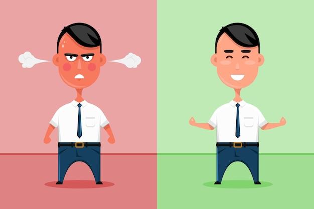 Glücklicher und verärgerter büroangestellter oder traurige und lächelnde geschäftsmannillustration.