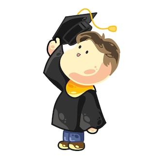 Glücklicher universitätsabschluss eines weißhäutigen jungenstudenten