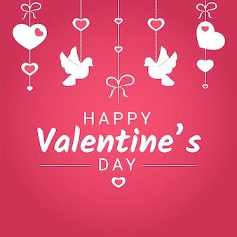 Glücklicher valentine day oder hochzeitsglückwunschfahne mit verschiedenen liebessymbolen.