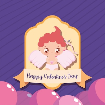Glücklicher valentinsgrußamorkarikatur