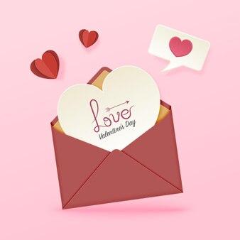 Glücklicher valentinskartenentwurf mit liebesherzkarte im umschlag