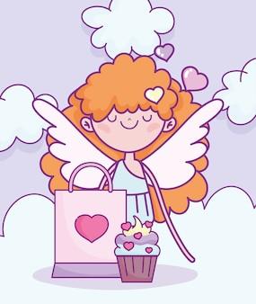 Glücklicher valentinstag, amor mit cupcake und tasche geschenk vektor-illustration