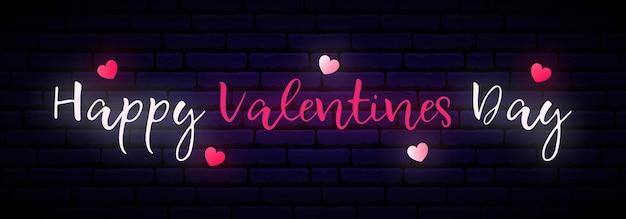 Glücklicher valentinstag auf dunkler backsteinmauer