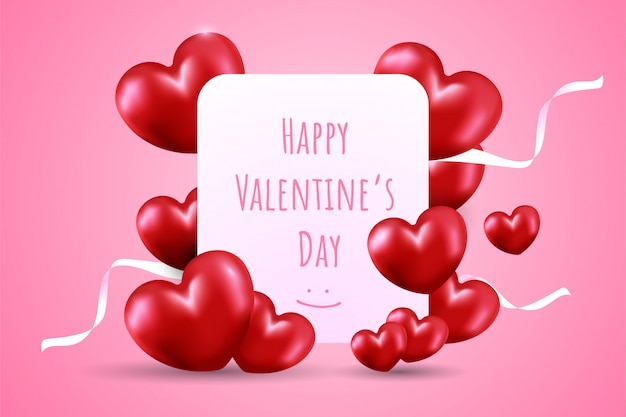 Glücklicher valentinstag auf weißer karte mit viel rotem herzformballon und weißen bändern auf rosa steigungshintergrund.