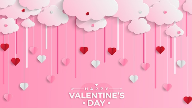 Glücklicher valentinstag-begrüßungsbanner im realistischen papierschnittstil. papierherzen und wolken
