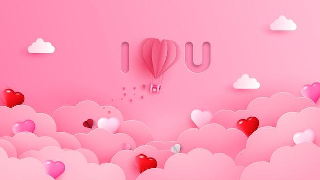 Glücklicher valentinstag-begrüßungsbanner im realistischen papierschnittstil. papierherzen, wolken und perlen an schnur.