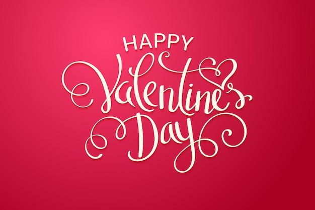 Glücklicher valentinstag-beschriftungstext auf rotem hintergrund.