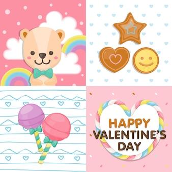 Glücklicher valentinstag, bunter bär des feiertags und nachtisch auf pastell