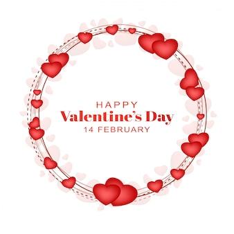 Glücklicher valentinstag der grußkarte mit herzen