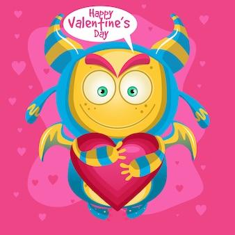 Glücklicher valentinstag des netten karikaturmonsters