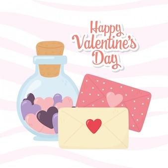 Glücklicher valentinstag, flaschenglasumschlagmitteilungs-buchstabeherzen romantisch