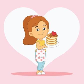 Glücklicher valentinstag frau, der pfannkuchen mit liebe kocht