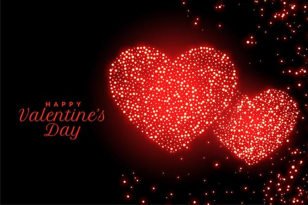 Glücklicher valentinstag funkelt rote herzgrußkarte