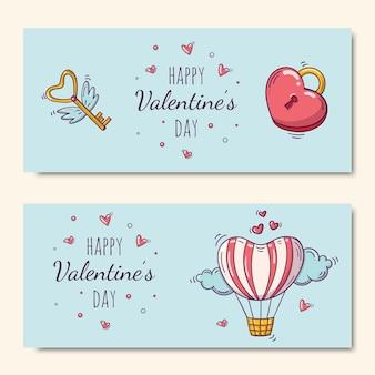 Glücklicher valentinstag gesetzt mit luftballon und herzförmigem schloss und fliegendem schlüssel im gekritzelstil