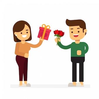 Glücklicher valentinstag, glückliche lächelnde mann- und frauencharaktere, die miteinander geschenke geben. dating-liebhaberkonzept