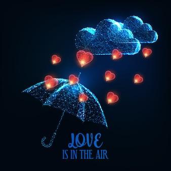 Glücklicher valentinstag glühende niedrige polygonale wolke, herzregen und regenschirm