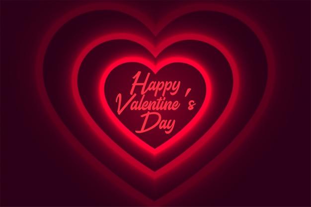 Glücklicher valentinstag glühender roter herzhintergrund